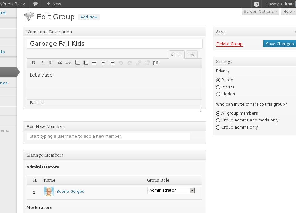 new groups admin