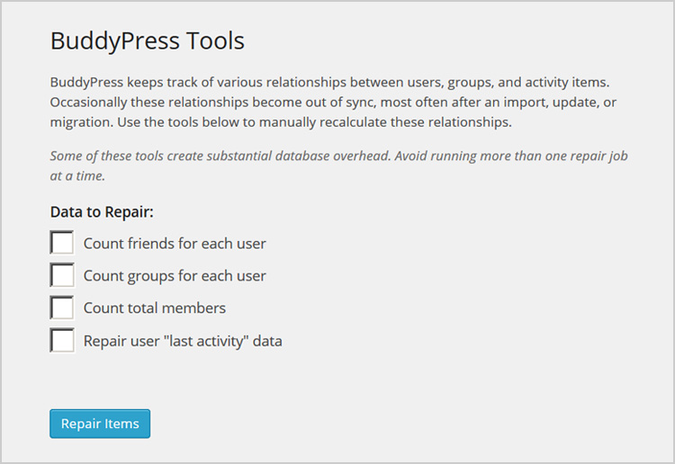 BuddyPress Repair Tools Admin Screen
