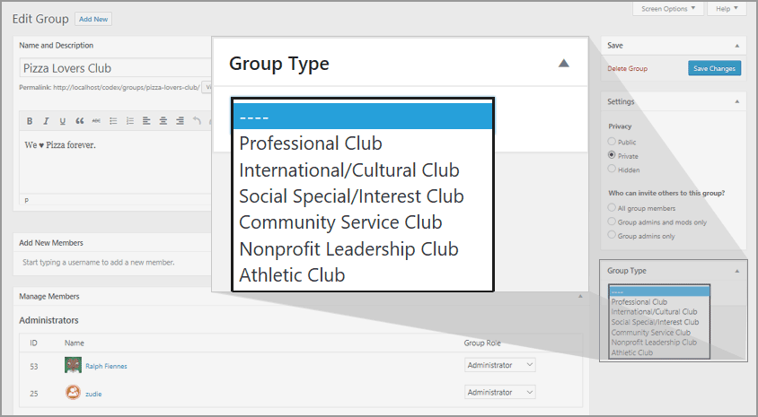 Group types metabox in Groups admin page.