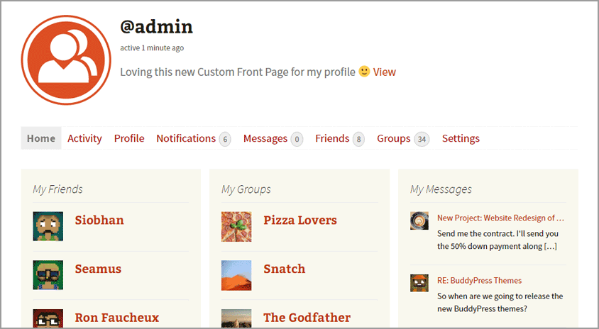 A member custom front page using widgets.