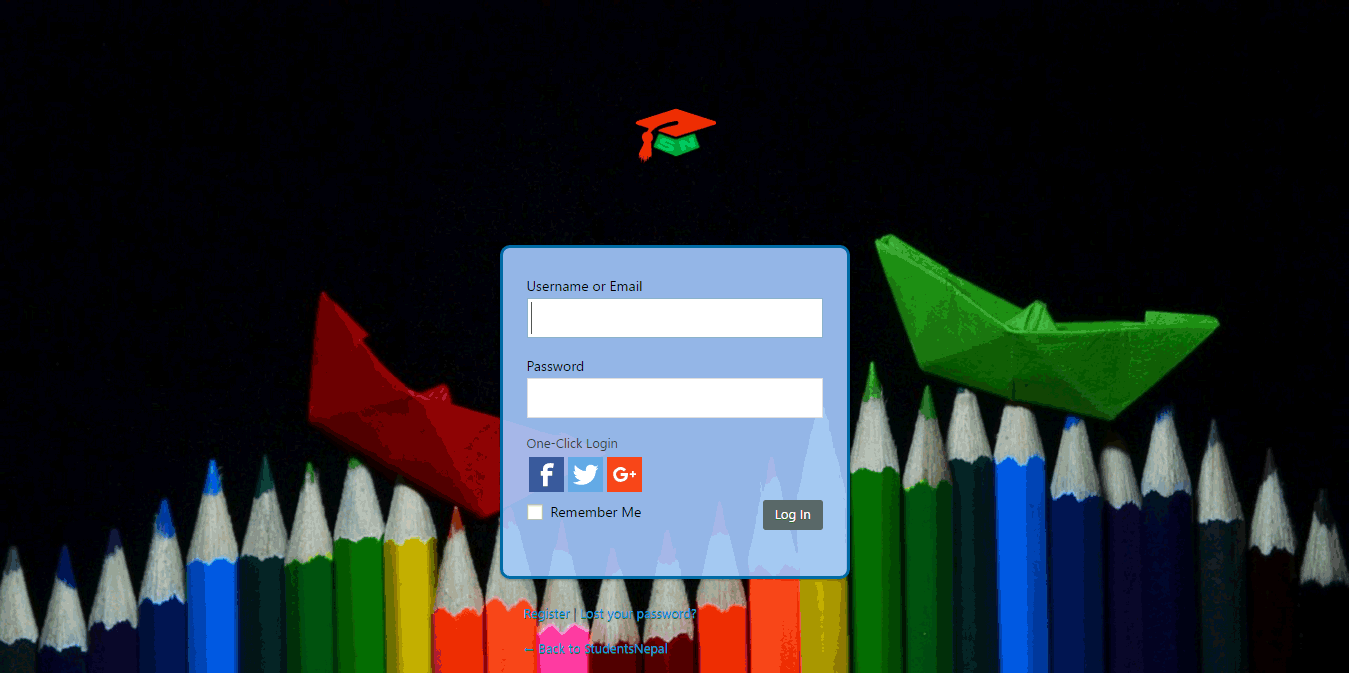 studentsnepal login screen