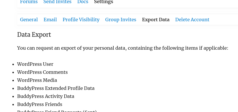 "Screenshot of ""Export Data"" panel"
