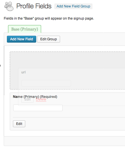 Arrange profile fields by drag and drop