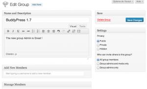 edit group admin screen