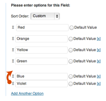 The form builder allows you to reorder options using drag and drop.