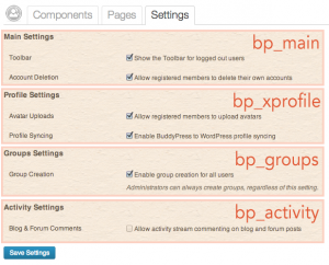 Available BuddyPress settings sections
