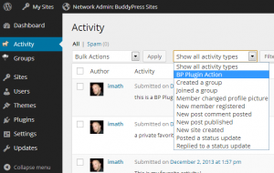 BP Plugin Action filter in Activity Administration screen