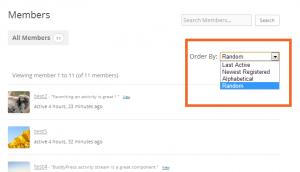 The random filter in Members directory