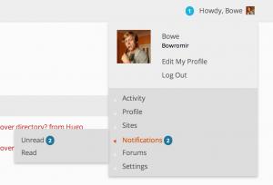 The Notifications menu on BuddyPress.org