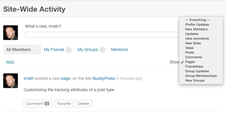 Using add_post_type_support() and customizing activity attributes.