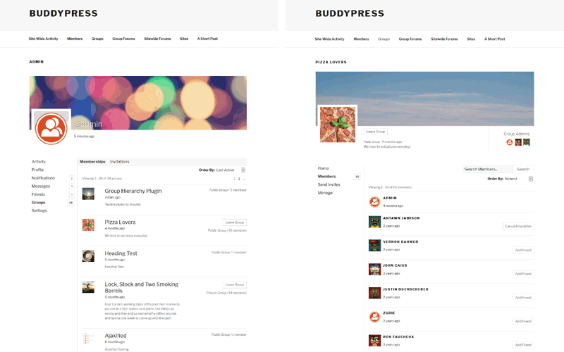 BuddyPress Member and Group screens on the Twenty Seventeen theme